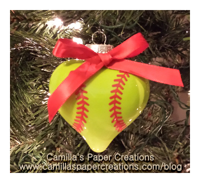 Softball Christmas Ornament