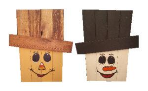 Scrap wood scarecrow snowman with vinyl faces